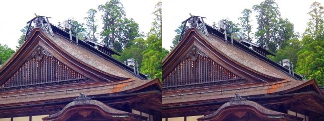 金剛峯寺 主殿 檜皮葺の屋根・天水桶(交差法)