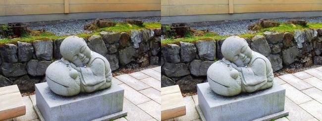 釈迦文院前 居眠り小坊主像①(平行法)
