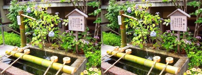 矢田寺 大門坊 手水鉢(交差法)