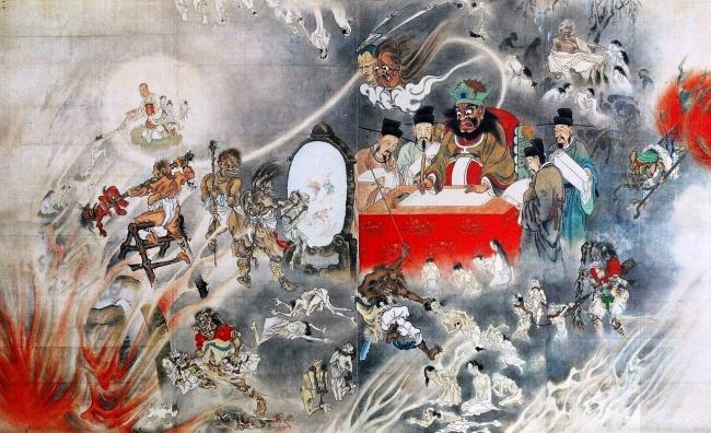 「地獄極楽図」河鍋暁斎(大英博物館所蔵)