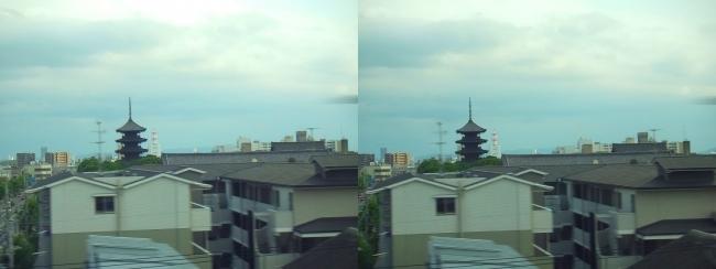 新幹線からの東寺(交差法)