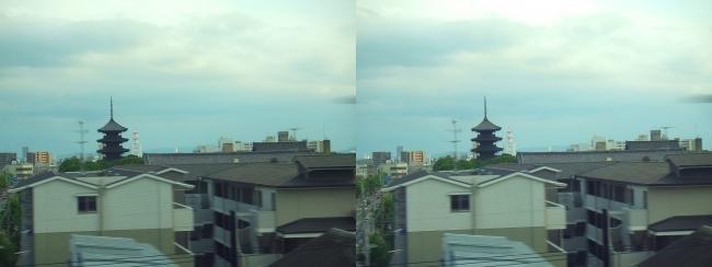 新幹線からの東寺(平行法)