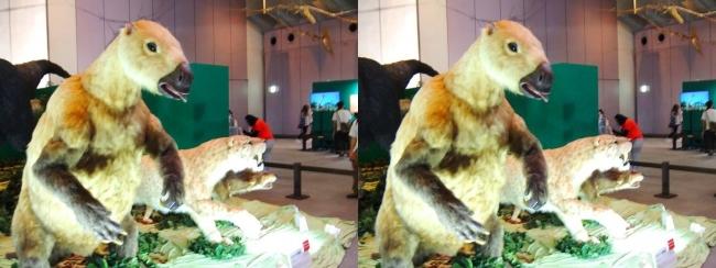 メガ恐竜展2017 ZONE1 パラミロドン・スミロドン・ダイアウルフ生体復元(平行法)