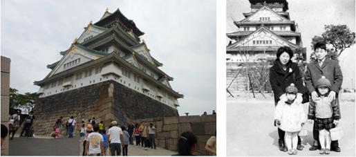 左:現在の大阪城周辺 右:50年前の大阪城周辺