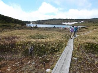 鎌沼のほとりをのんびりと歩く