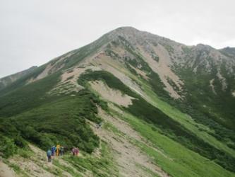 三俣山荘付近からの鷲羽岳