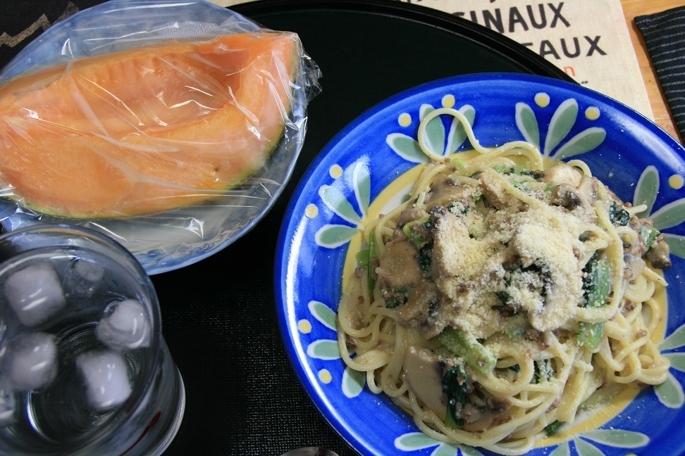 2017 8 4 昼食、マッシュルームと小松菜のクリィミィなパスタ.jpg