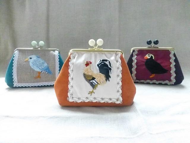 贈る展「華やかな鳥たち」刺繍がま口