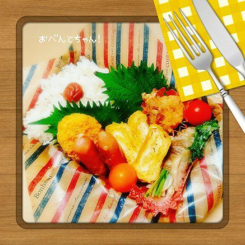 ★5月18日(木)もやしと豆苗の豚巻きレンジ蒸しと唐揚げ弁当1
