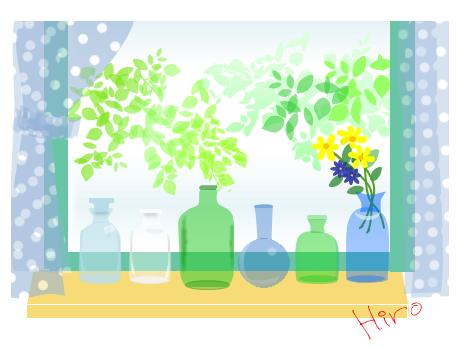 瓶のある窓辺