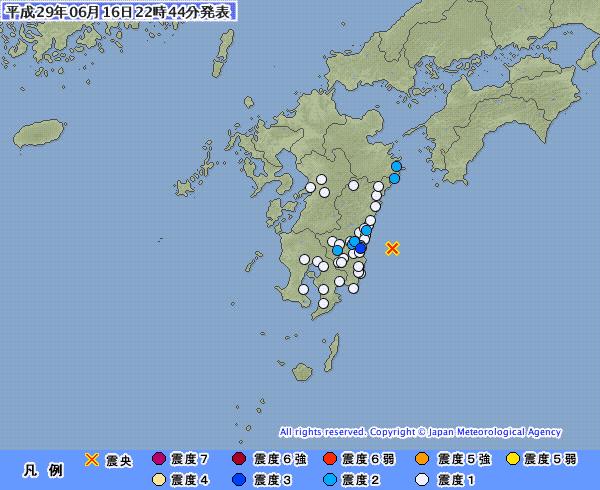 宮崎県で震度3の地震発生 「M4.5」 震源地は「日向灘」 深さ約20km