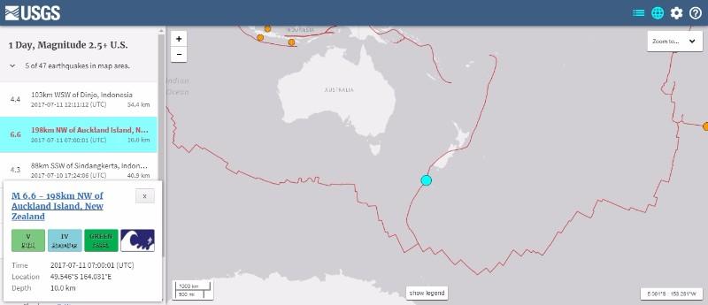 【法則】ニュージーランド沖で「M6.6」の地震が発生