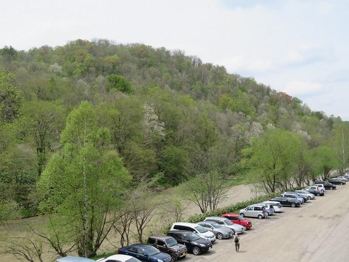 嵐山と駐車場