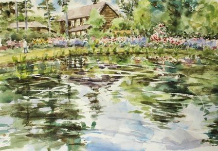 池に映るバラ
