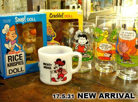 キャンプスヌーピーコレクション シリーズのグラス、 ファイヤーキングより ディズニーミッキー&ミニーマグ