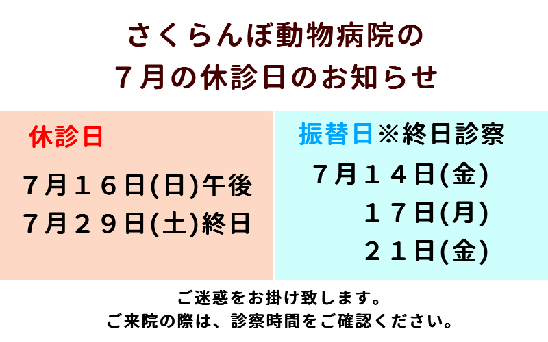 休診日おしらせ(7月)