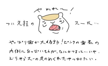 シマリス歯の大移動