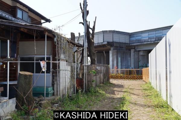 立ち退いた江戸時代からの農家。向こうに見えるが東名高速。右が外環用工事フェンス。