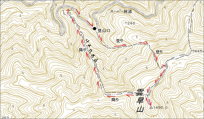雲早山登山ルート