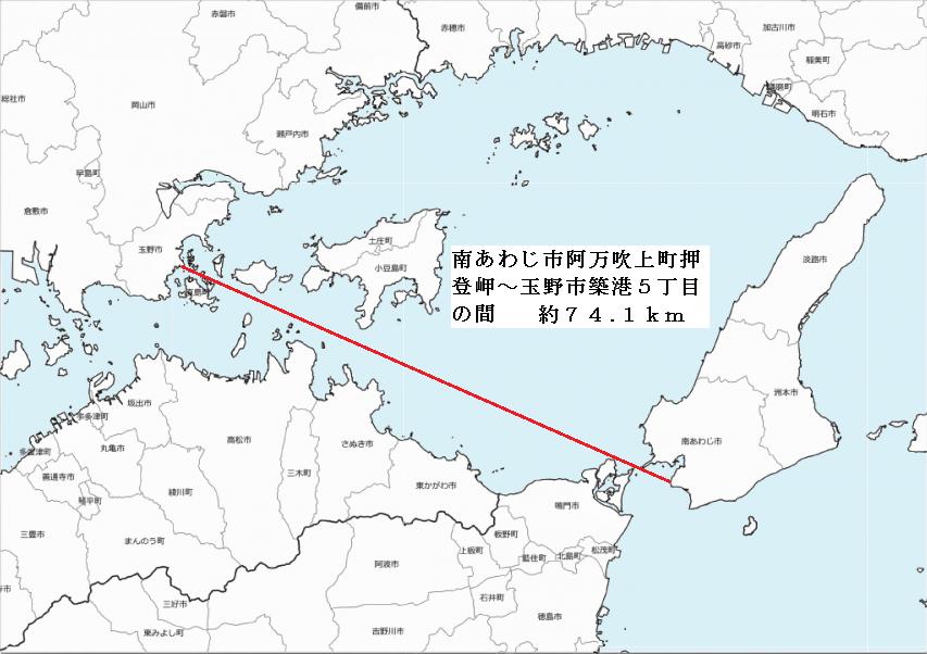 播磨灘西部での海面上を見通せる距離