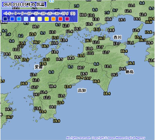 2017年6月5日05時の四国地方の気温分布
