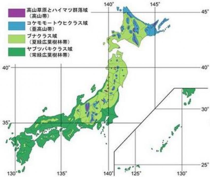 自然植生の水平分布