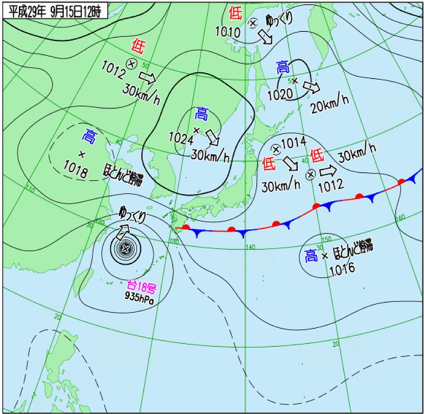 台風番号 T1718は、東シナ海上にあったときには935hPa