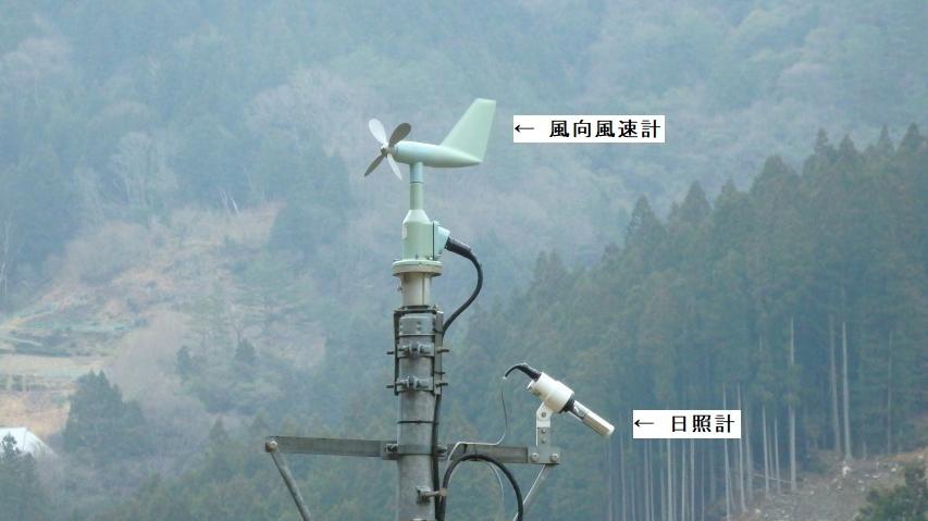 アメダス京上は四要素 (降水量、風向・風速、気温、日照時間) の観測所