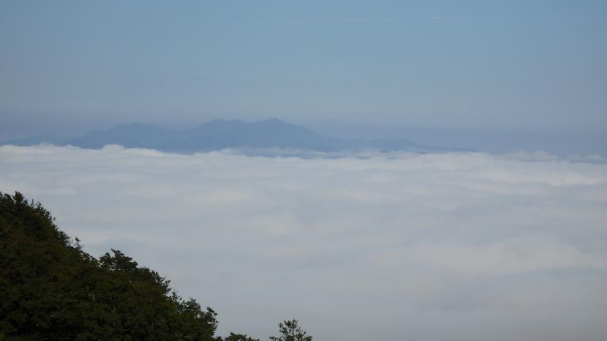 雲海の上に矢筈山が浮かぶ