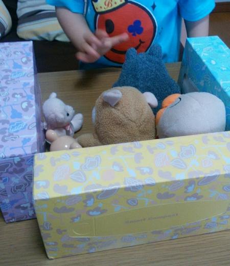 ティッシュBOX遊び4