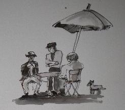 街角の3人と犬