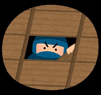 忍者、天井、隠れる