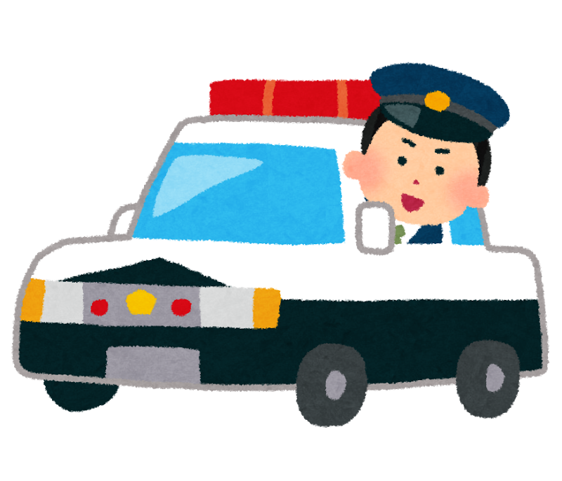 警察、パトカー、警察官