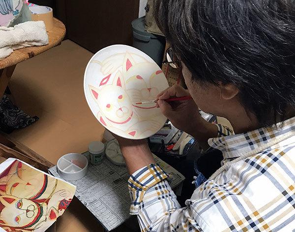 2017_9_19赤猫の中皿_美濃瓢模写3