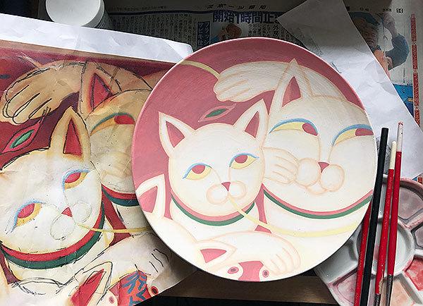 2017_9_19赤猫の中皿_美濃瓢模写4