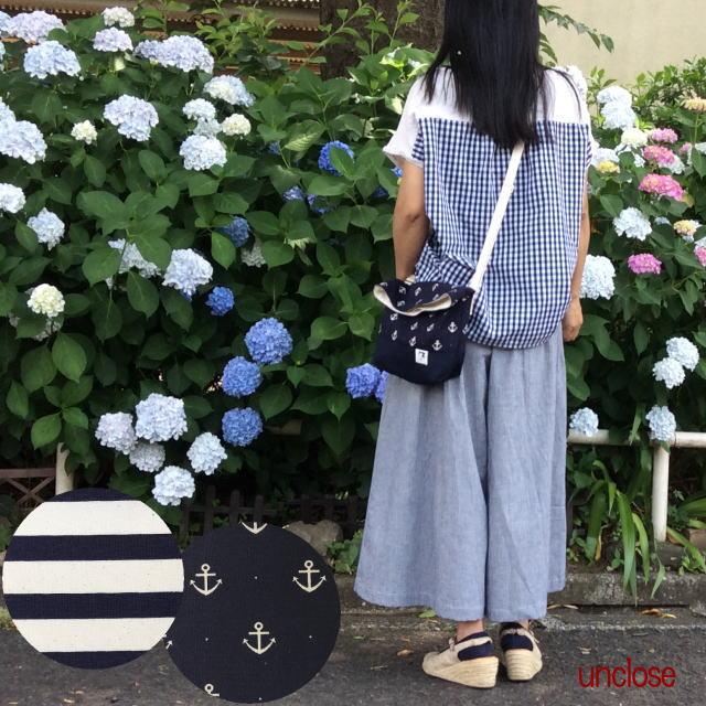 【キット】マリンプリントと帆布で作るフタ折れショルダーバッグ