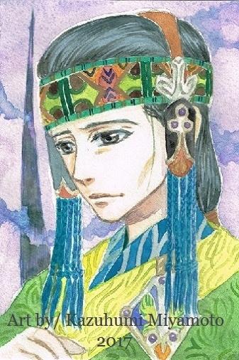 「天星神話」の中間地点ででてくる貞華の弟。服の色あいは姉の婚礼衣装の補色。