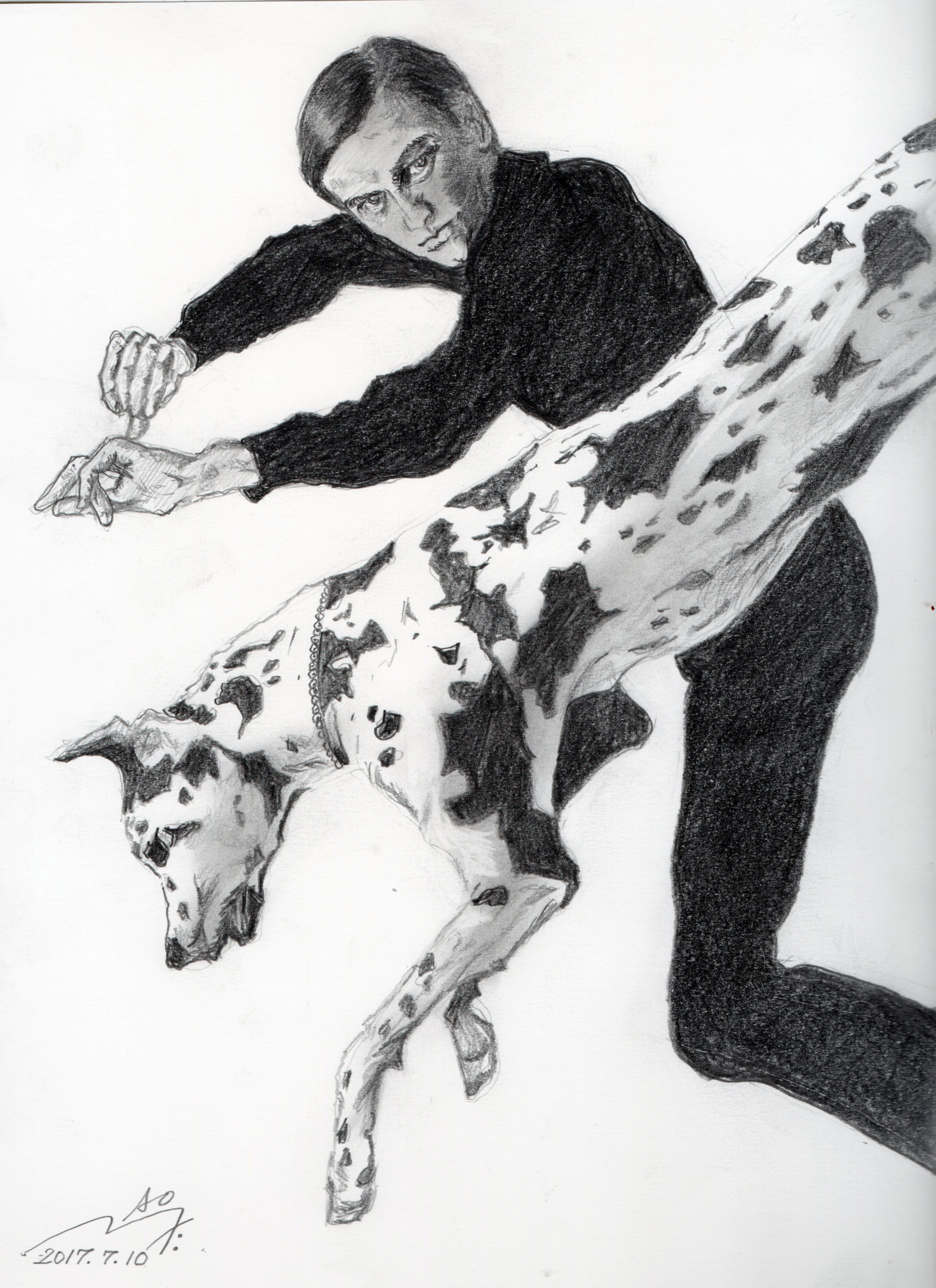 MG5団時朗の鉛筆画似顔絵