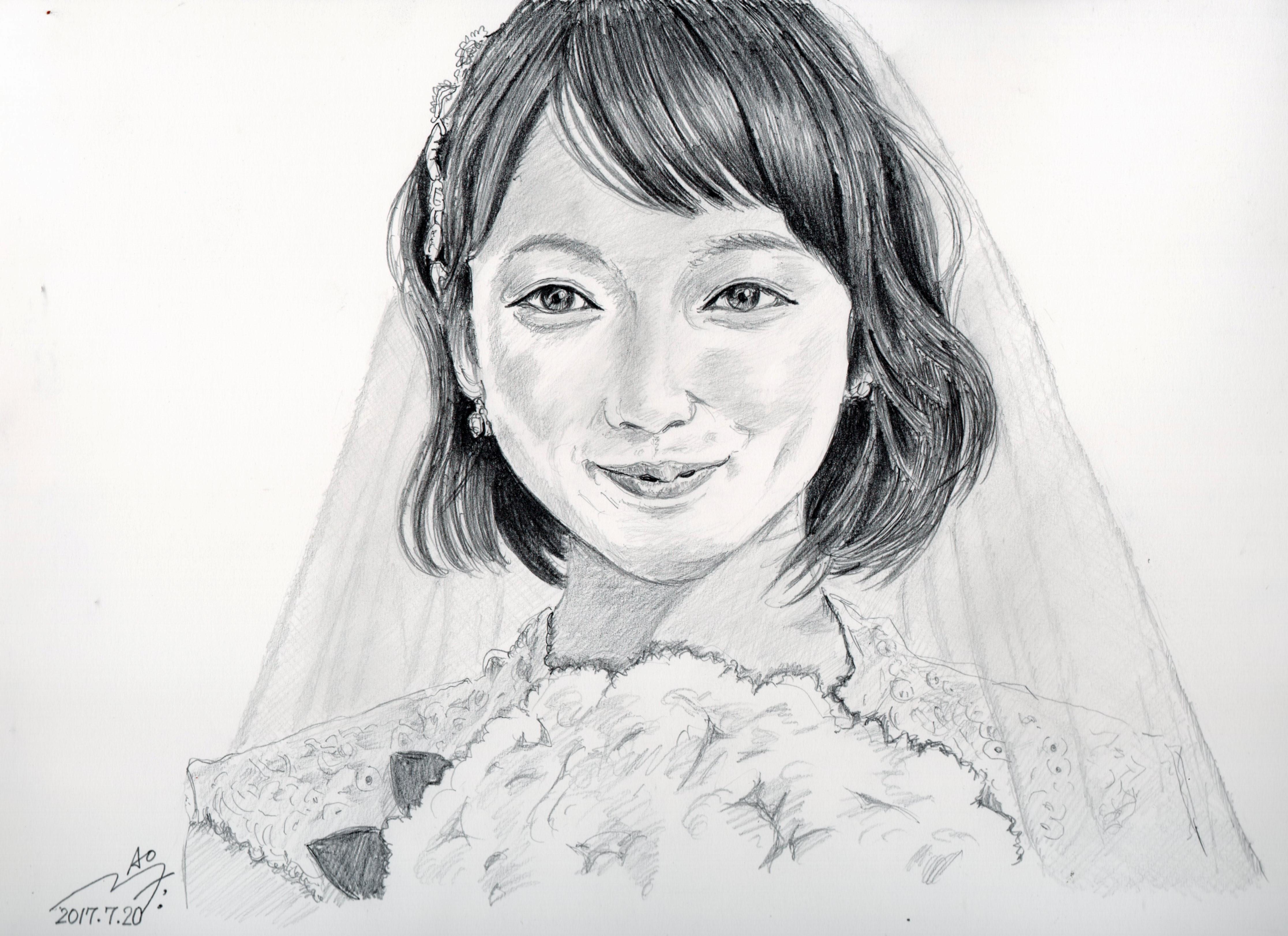 吉岡里帆の鉛筆画似顔絵