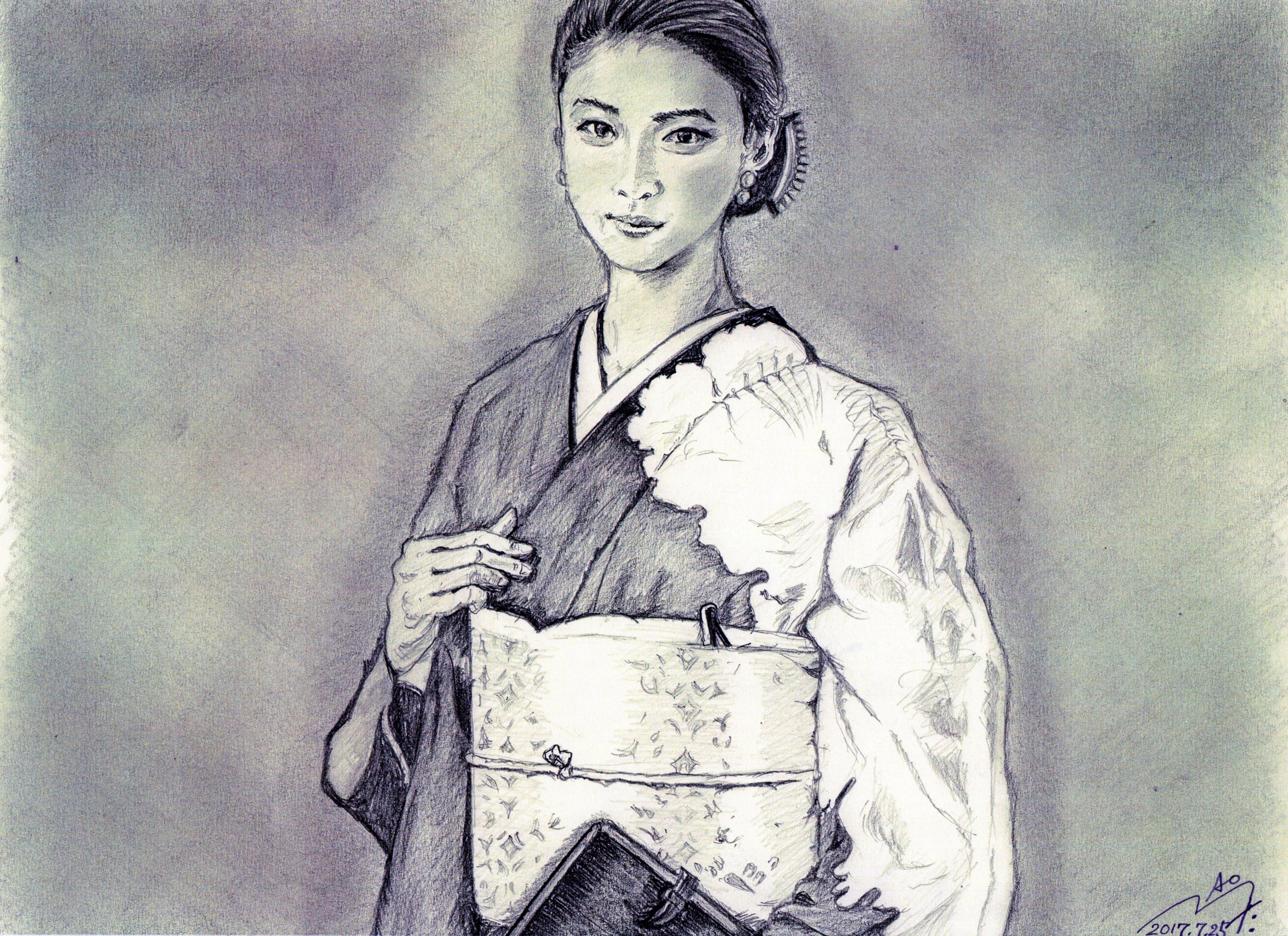 武井咲の鉛筆画似顔絵