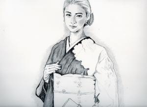 武井咲の鉛筆画似顔絵途中経過
