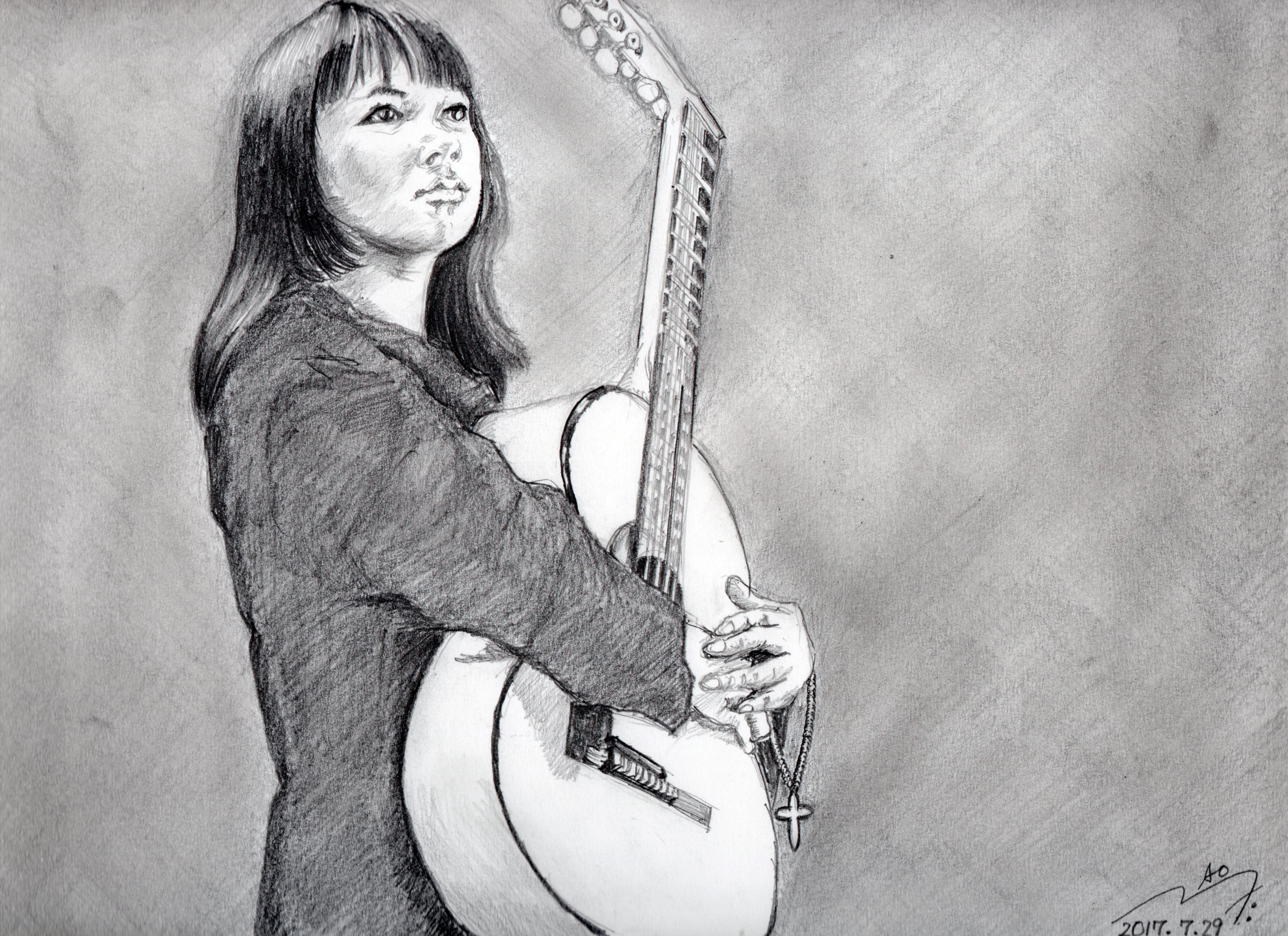 藤圭子さん鉛筆画似顔絵