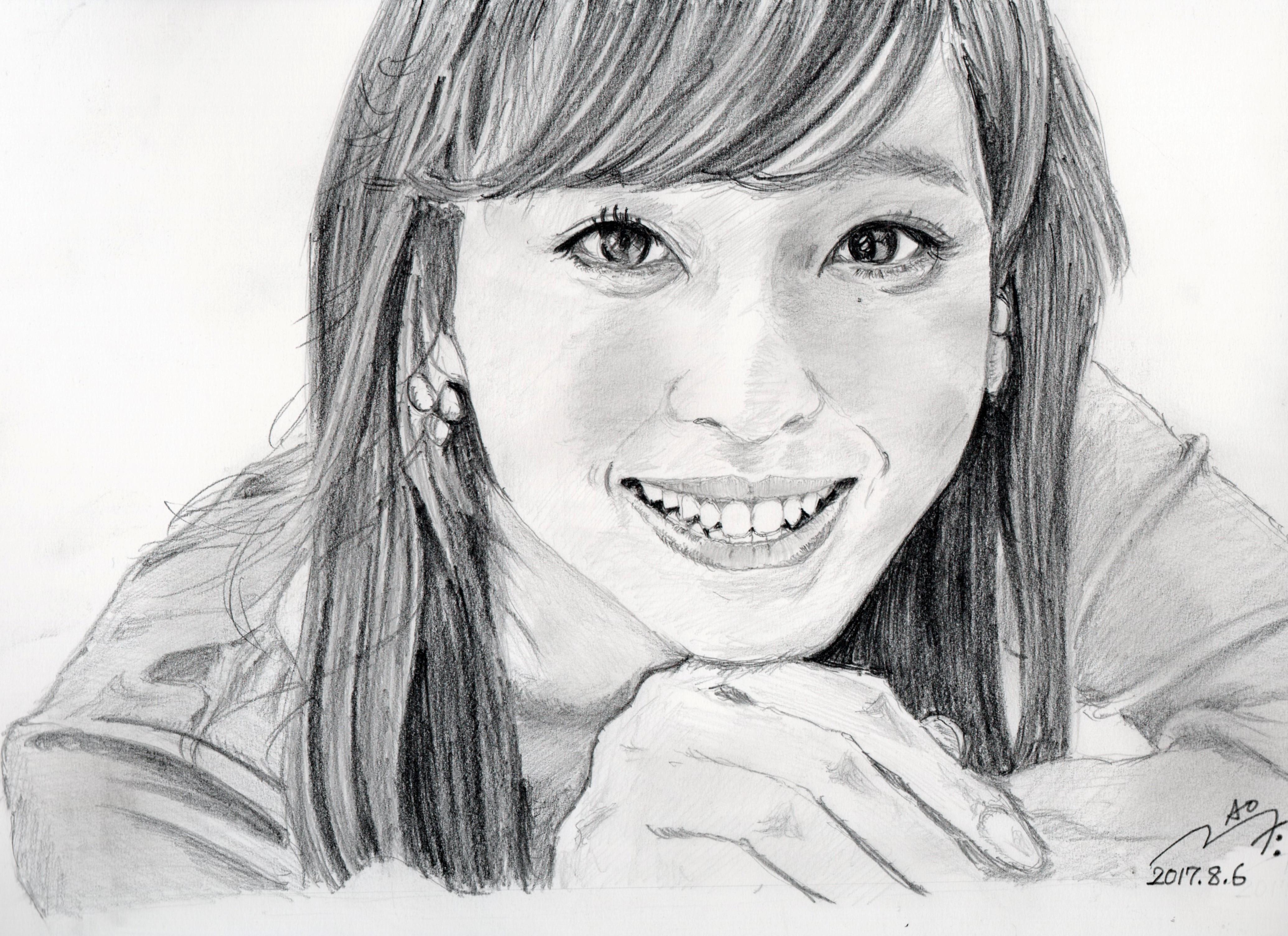 フジテレビアナ久慈 暁子の鉛筆画似顔絵