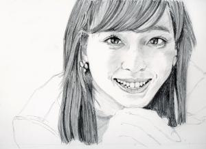 フジテレビアナ久慈 暁子の鉛筆画似顔絵途中経過