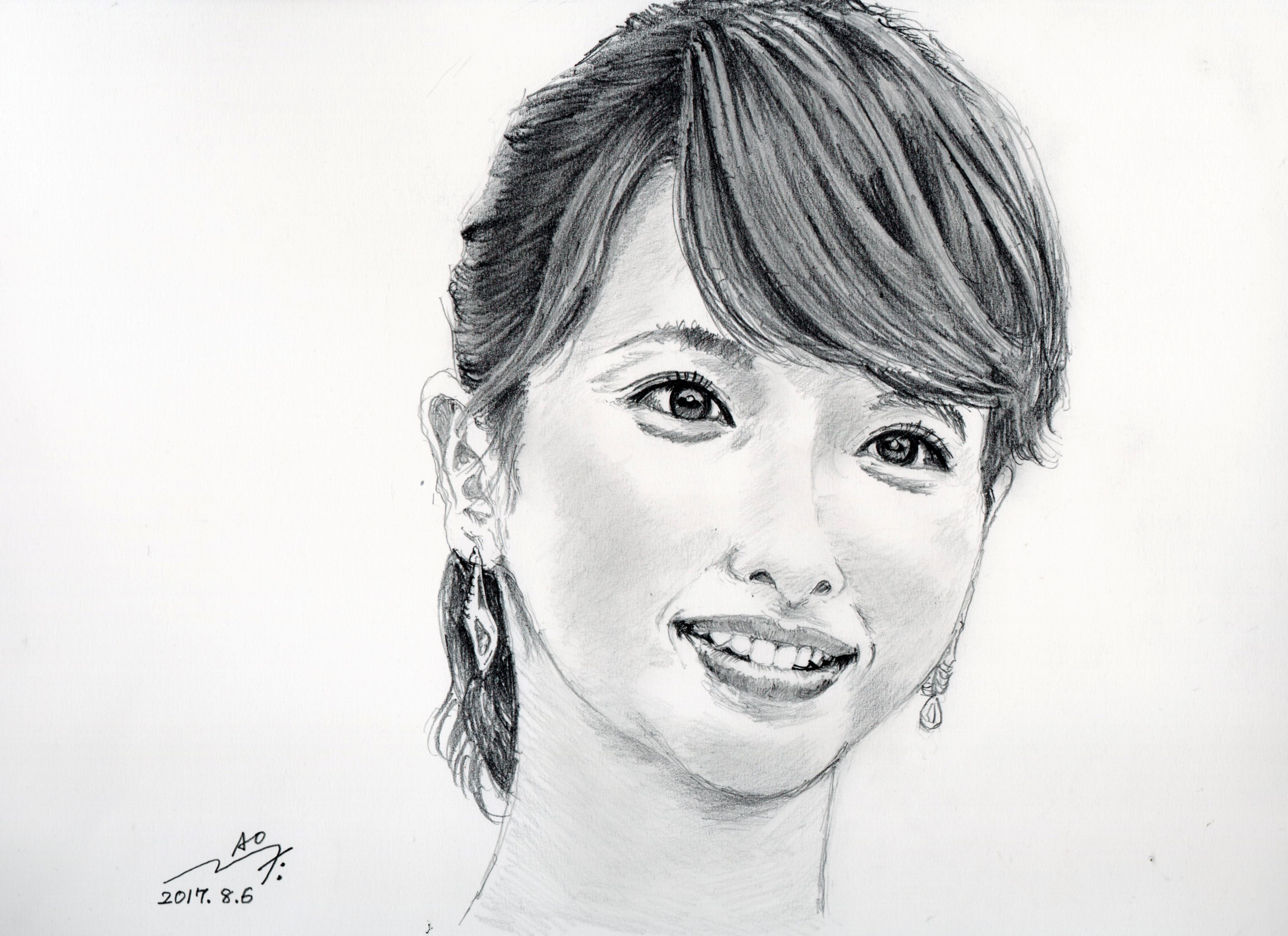 加藤綾子の鉛筆画似顔絵