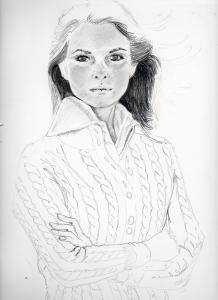 ジェニファー・オニール鉛筆画似顔絵途中経過