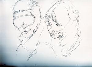 ジョアンナ・シムカス鉛筆画似顔絵途中経過
