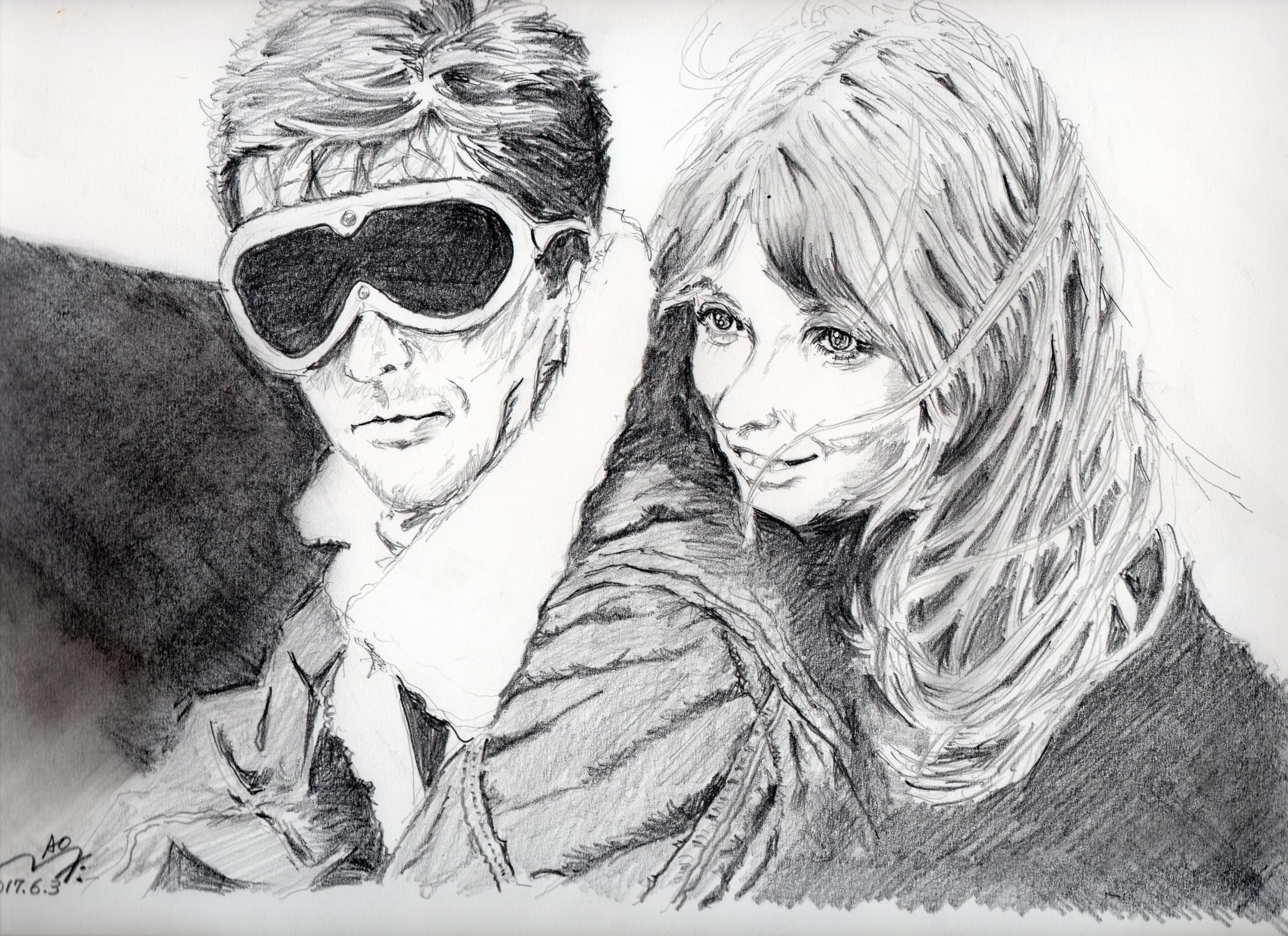 『冒険者たち』ジョアンナ・シムカス鉛筆画似顔絵