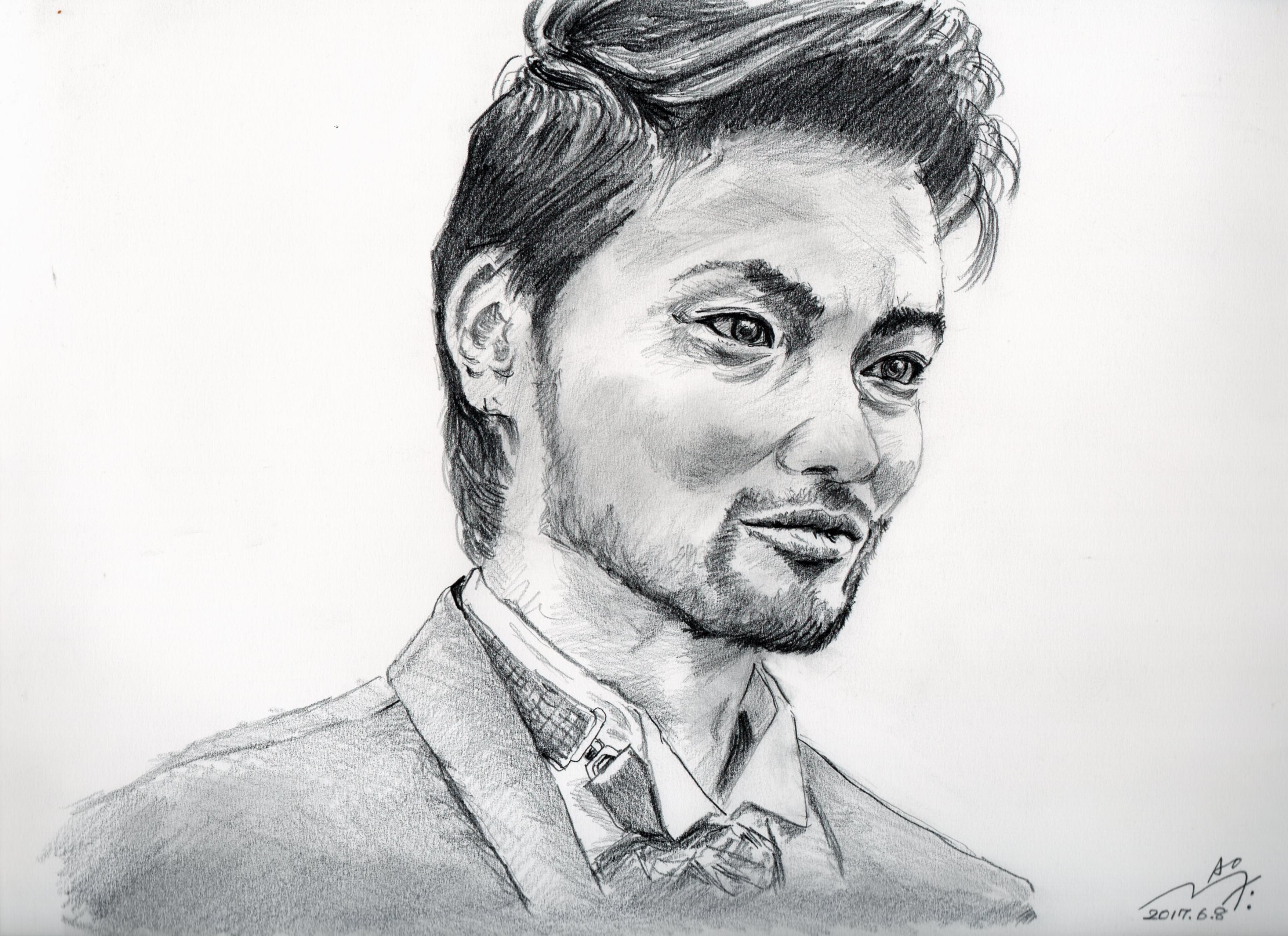 山田孝之の鉛筆画似顔絵