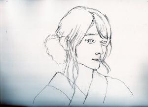 有村架純の鉛筆画似顔絵途中経過